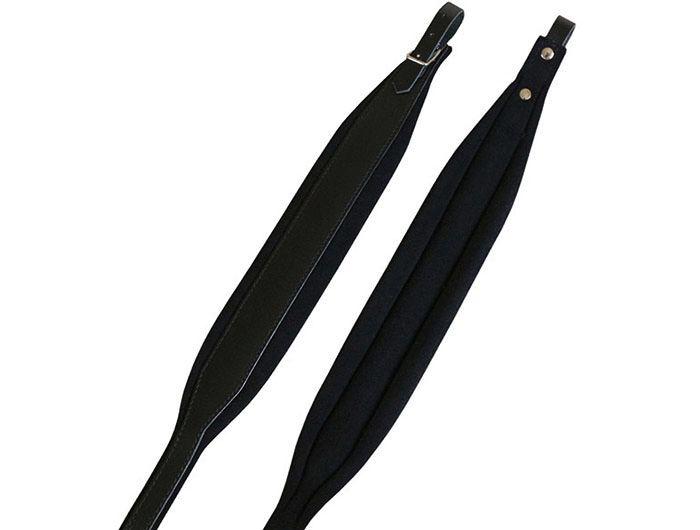 Black Leather Padded Accordion Shoulder Straps